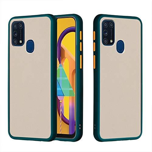 BAIYUNLONG Funda Protectora, for Samsung Galaxy M31 Mano de la Piel Sensación de la Mano a Prueba de Golpes Frosted PC + TPU Funda Protectora (Color : Deep Green)