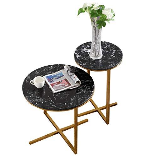Home D & eacute; cor Furniture Mesas finales superpuestas pequeñas, juegos de mesa de centro redonda, mesas nido de 2 piezas para sala de estar, balcón, oficina, base de mármol y metal, sala de estar