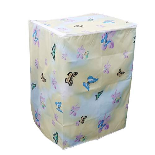 LIOOBO Funda para Lavadora Carga Superior Refrigerador Universal Cubierta Superior del Secador y Lavadora Automática Impermeable a Prueba de Polvo con Cremallera 55 × 58 × 87 cm (Flor y Mariposa)