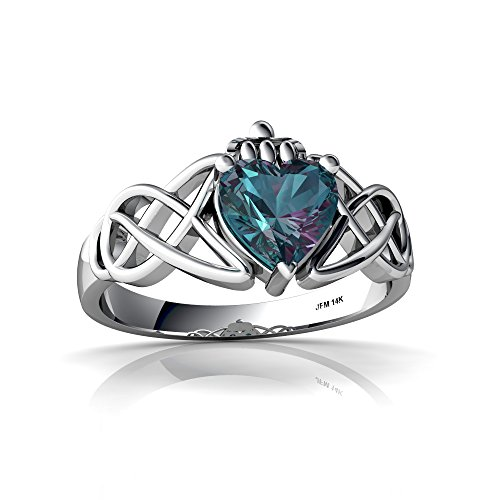 14kt White Gold Lab Alexandrite 6mm Heart Claddagh Celtic Knot Ring - Size 8
