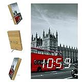 Reloj despertador digital para dormitorio, adecuado para sueño pesado, reloj despertador grande, equipado con puerto USB, batería de litio, pantalla LED para niños London Street