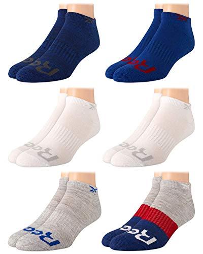 Reebok Boys Cushion Comfort Low Cut Basic Socks (6 Pack) (Blue/White, Toddler: Small/Shoe Size: 4-8)