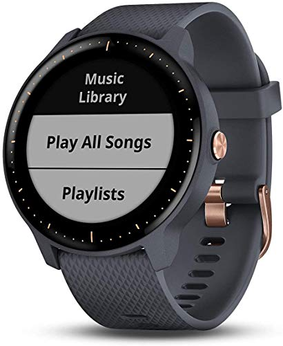 Garmin Vivoactive 3 Music, Granite Blue with Rose Gold Hardware-Worldwide Version with Music Storage, Built-in Sports Apps, Automatic Sync and Supports Spotify (Renewed)