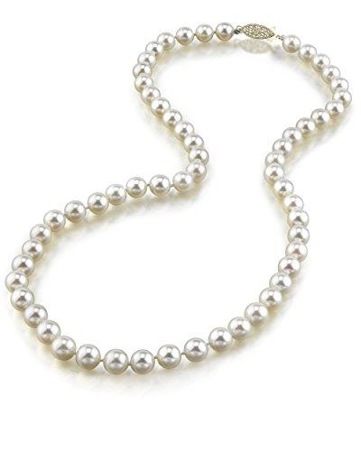 Collana di perle Akoya giapponesi bianche, coltivate, qualità AAA, da 6-6,5 mm, oro 14 carati, lunghezza girocollo 40,6 cm e oro giallo, colore: Gold/White, cod. 1