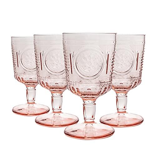 Bormioli Rocco Lunettes Romantique de vin Set - Verre Vintage Cut Italien Gobelets - 320ml - Rose - Paquet de 12