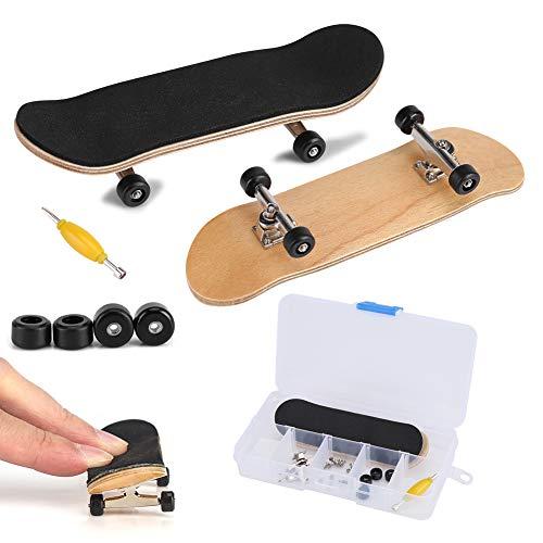 Zerodis Griffbrett Fingerskateboards, Professionelle Mini-Legierung Komplettes Holzahorn-Deck-Set Interaktives Spiel Kindergeschenke(Schwarz)