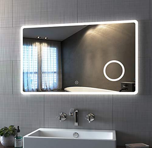 Bath-mann LED Badspiegel 100x60cm mit Beleuchtung Kaltweiß Badezimmerspiegel Spiegel mit Touch Lichtschalter, 3X Vergrößerung Lupe Schminkspiegel Wandspiegel Horizontal Lichtspiegel 6400K