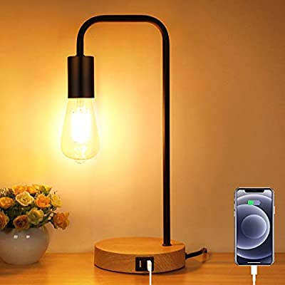 3-Way Touch Control Dimmable Table Lamp with 2 USB Charging Ports, AC Outlet & Vintage St64 E26 Edison LED Bulbs Included, Industrial Metal Bedside Desk Nightstand Lamp Ideal for Bedroom Living Room