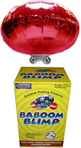 RED Radio-Controlled Baboom Flying Saucer (Indoor Blimp/Balloon) 27MHz RC UFO Red Mylar Balloon