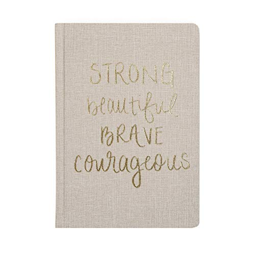Sweet Water Decor Cute Motivational Lined Composition Notebook for Women, 100 Ruled Pages for Writing, Diary with Fabric Inspirational Cover (Strong Beautiful Brave Courageous)