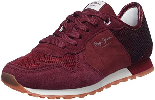 Pepe Jeans London Verona W New Sequins 2, Zapatillas para Mujer, Rojo (Dk Wine 499), 36 EU