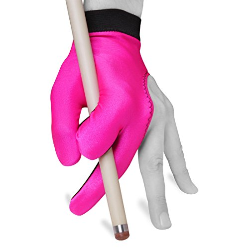 Billiard Pool Cue Glove by Fortuna - Classic Two-Colored - for Left Hand - Pink/Black (Medium/Large)