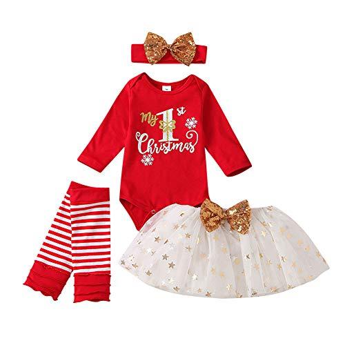 Xifamniy Baby Girls My 1st Christmas Outfit Newborn 4Pcs Bodysuit Headband Legging Socks Set (Xmas-Red, 0-3 Months)