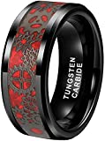 Tungsten Carbide Red Steampunk Gear Wheel, Wedding Band Ring, Custom Text Personalized Engraving, (Size 8mm Ring Size 8-13) (8.5)
