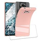 UCMDA Funda para Poco X3 NFC + Protector de Pantalla, Silicona Funda Suave TPU Transparente, Resistente Anti-Arañazos Absorción de Golpes Protectora Case Cover para Xiaomi Poco X3 NFC(Rosa)