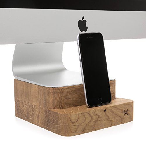 Woodcessories Stand Dock kompatibel mit iMac 27 alle iPhones aus Holz EcoFoot Dock EDT Eiche