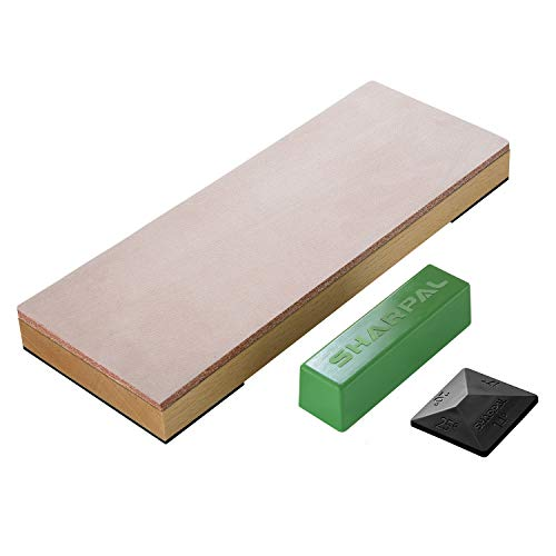 """SHARPAL 204N Leather Strop (Genuine Cowhide) 8"""" x 3″ Kit with 2 Oz. Polishing Compound & Angle Guide, Knife Stropping Block for Sharpening & Honing Knives, Straight Razor, Woodcarving Chisels"""