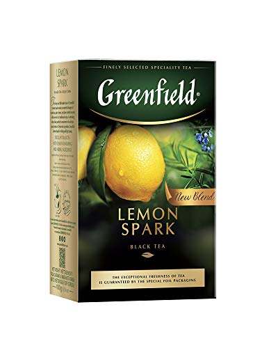 Greenfield Lemon Spark, aromatisierter schwarzer Tee mit Zitrone, loser Blatttee, 100g