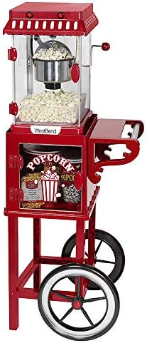 West Bend PCMC20RD13 Popcorn Cart 2 5 Ounce Non Stick Stainless Steel Kettle Makes 10 Cups Features product image