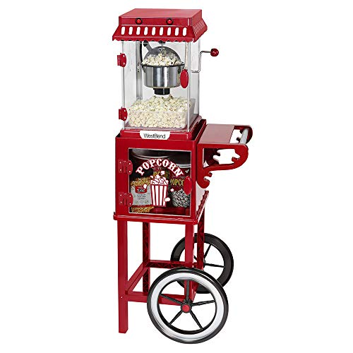 West Bend PCMC20RD13 Popcorn Cart 2.5-Ounce Non-Stick Stainless Steel Kettle Makes 10 Cups Features Prep Shelf Storage and Wheels for Easy Mobility Includes Measuring Tool, Red