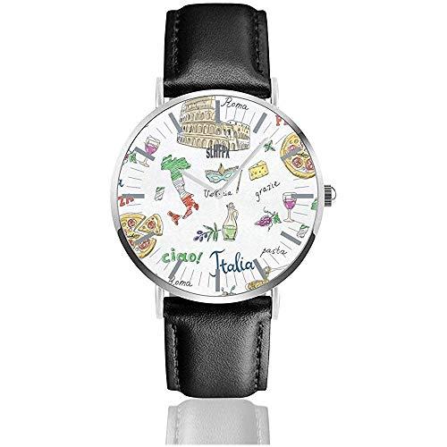 Armbanduhr römische Pizza Pasta Personalisierte Armbanduhr Quarz Edelstahl und PU-Leder