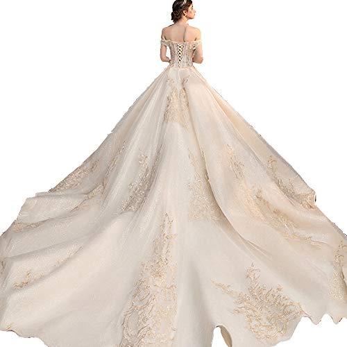 Hochzeitskleid, Brautkleid Schulter Große Damen Spitze Braut Kirche Heiraten Rock Langen Abschnitt Frauen 's,Champagner,L
