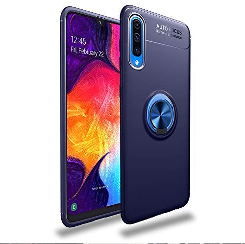 Capa compatível para Samsung Galaxy A70 Capa de silicone Suporte de protetor magnético Anel de absorção de choque TPU + ABS Material Capa anti-queda:Azul
