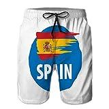 Shorts de Playa para Hombre, bañador, bañador, Bandera de españa en Blanco