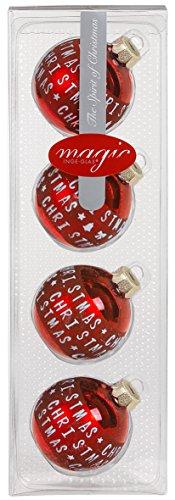Merry Christmas Lot de 4 Boules de Noël en Verre Rouge Brillant 6 cm