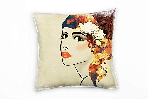 Paul Sinus Art Retro en Vintage, vrouw, deco, rood, oranje decoratiekussen 40x40 cm voor bank sofa lounge sierkussen - decoratie om je goed te voelen