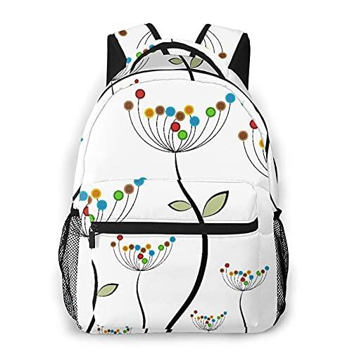 LUDOAN Sac à dos pour ordinateur portable de voyage,tiges de pissenlits colorés de jardin bourgeons feuilles plantes chalet de prairie de...