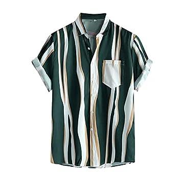 Vintage Shirts for Men Striped Short Sleeve Hawaiian Shirt Summer Button Down T Shirt Relaxed-Fit Casual Beach Tops