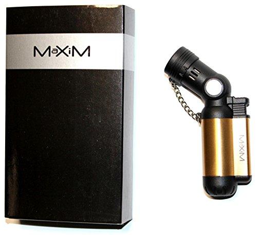 1x MAXIM RIGAUD 4 BLUEFLAME LIGHTER, Sturmfeuerzeug Nachfüllbar, ( verschiedene Farben ) Gasfeuerzeug Feuerzeug BxHxT: 6,0x10,7x2,5 cm (1x Bronze)