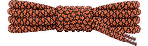 Ladeheid Qualitäts-Schnürsenkel, Rundsenkel für Arbeitsschuhe und Trekkingschuhe aus 100% Polyester, ø 5 mm, 27 Farben, Längen 70-220 cm (Schwarz/Orange, 150 cm / ø 5 mm)