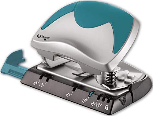 Maped - Perforateur 2 Trous Ergologic - Perfore 15 à 20 Feuilles Simultanément - Avec Système de Calage Optimisé sur les Anneaux du Classeur et Trappe à Confettis
