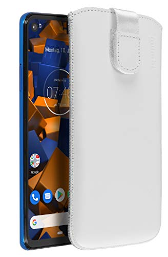 mumbi Echt Ledertasche kompatibel mit Motorola One Vision Hülle Leder Tasche Hülle Wallet, Weiss