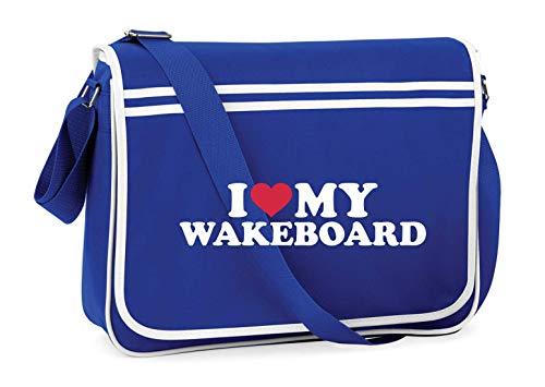 Druckerlebnis24 Schultertasche - I Love My Wakeboard - Umhängetasche, geeignet für Schule Uni Laptop Arbeit