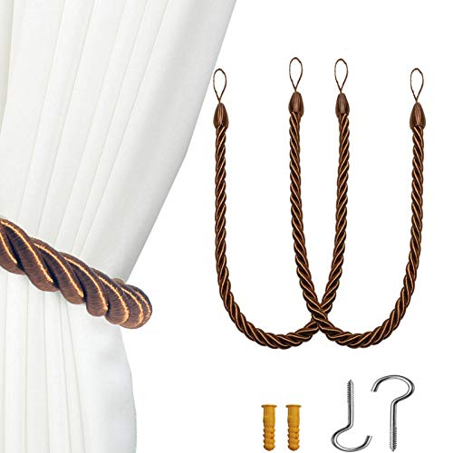 VARWANEO Curtain Tie-Backs Ropes Tie-Backs,Curtain TieBacks Bracelets,Handmade Knitting Curtain Holdbacks-  Coffee 2 Pack