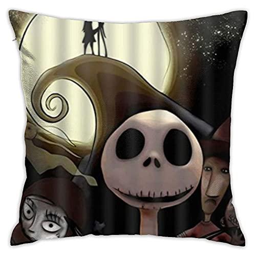 N A - Fundas de cojín decorativas cómodas, The Nightmare Before Christmas Jack Skellington The Scream, cojín cuadrado suave para fundas de almohada de sofá, 45 cm x 45 cm, color 16