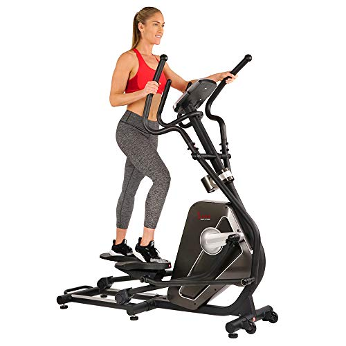 Sunny Health & Fitness Magnetic Elliptical Trainer Machine w/Device Holder, LCD Monitor, 265 LB Max Weight and Pulse Monitoring - Circuit Zone, Black...