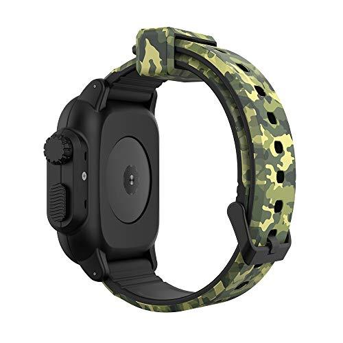 LRJBFC Para Apple Watch Band 6 5 4 3 2 SE 44/40 / 42mm Pulsera Deportiva de Camuflaje Caso Impermeable + Cubierta de Correa de Silicona para iWatch Series 6