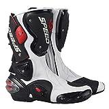 LLC-CLAYMORE Viajes de la Calle de los Hombres de la Motocicleta, Botas de Carreras de Motos Zapatos con Perilla Tipo Dispositivo de Ajuste elástico,White,US8/EU41