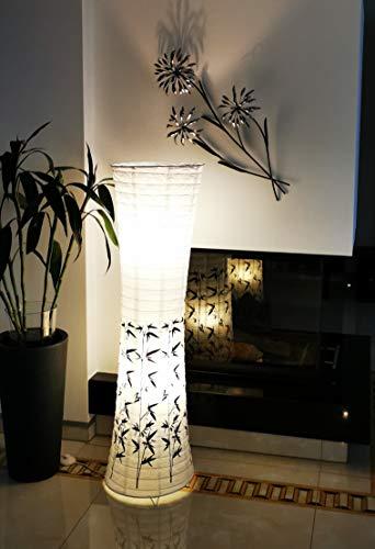 Trango PEKING Lámpara de pie, diseño moderno, papel de arroz, lámpara TG1217 con decoración de bambú, lámpara de pie de 123 cm de alto, lámpara decorativa para salón incl. 2 casquillos E14