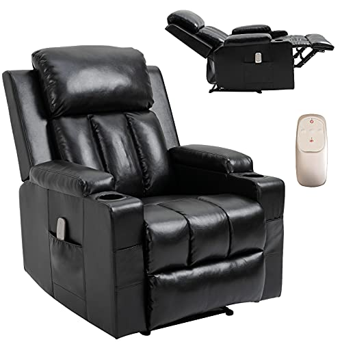 HOMHUM Massage Recliner Chair Leather Heated Ergonomic Lounge Chair for Living Room Overstuffed Reclining Chair Single Sofa, Remote Control, Black