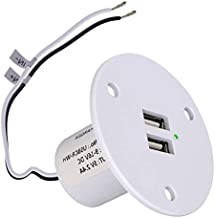 Facon RV USB Charger Socket Power, High Speed Charging 5V / 2.4A Dual USB Outlet, Recessed Mount with Green Indicator Light, USB Outlet for RV Trailer Camper Boat Marine Motorhome (White)