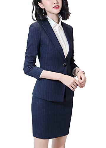 Vrouwen Twee Stuk Streep Office Lady Blazer Suits Een Knop Zakelijke Suits voor Vrouwen Blazer Jas, Pant/Rok