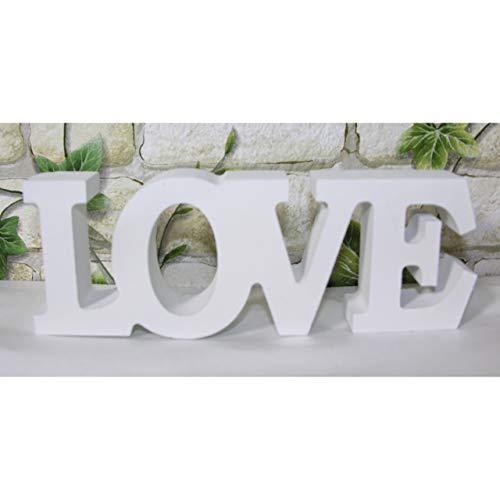 Koi Schriftzug Love Buchstaben Holz Schild Aufsteller 16,5cm weiß Shabby Deko Liebe