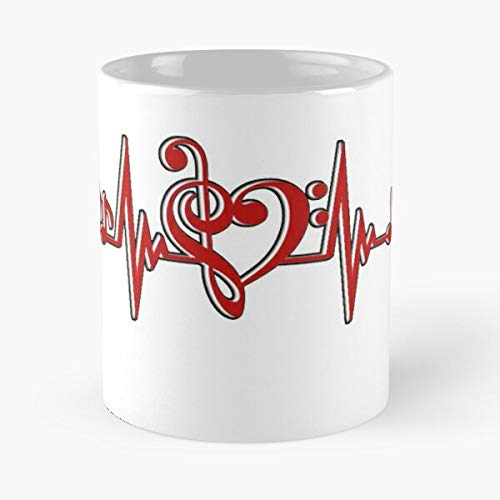 Music Heartbeat Classic Mug - Funny Gifts For Men And Women Gift Coffee Tea Cup White 11 Oz.the Best Holidays Tikitoic.