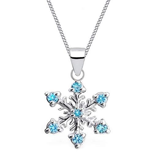 Kristall Schneeflocke Anhänger mit Halskette 925 Echt Sterling-Silber Mädchen Kinder Geschenkidee (38cm Kette + Anhänger)