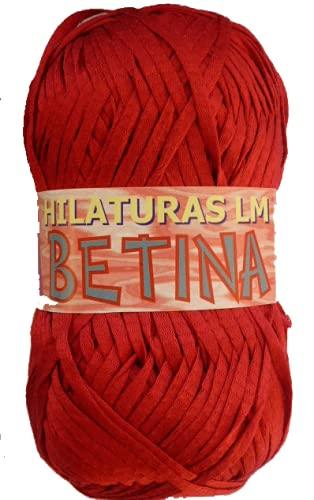 Betina es una cinta de algodón de LM ovillos de 100 gramos y 130 metros, color Rojo 10